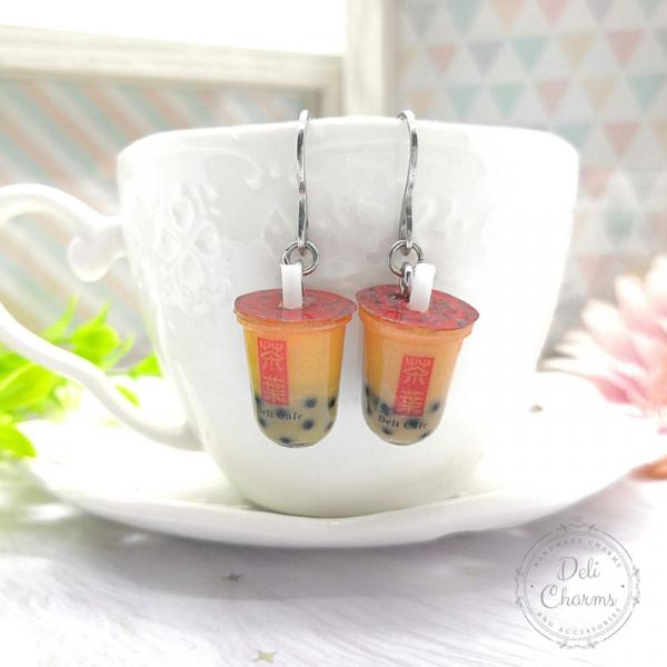 miniature Thai boba tea earrings
