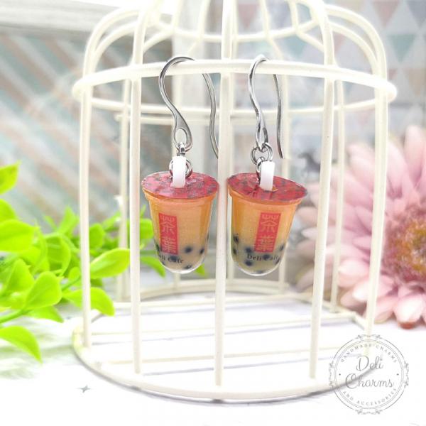 miniature Thai bubble tea earrings