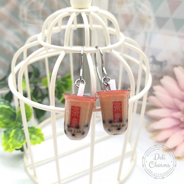 miniature boba tea earrings delicharms