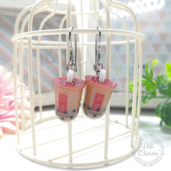 miniature bubble tea earrings