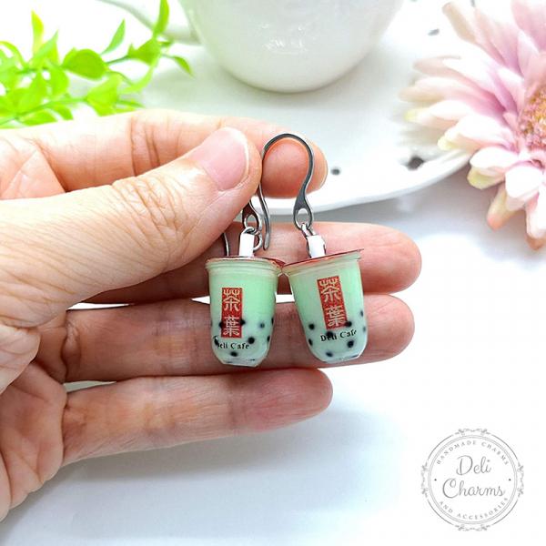 miniature melon bubble tea earrings