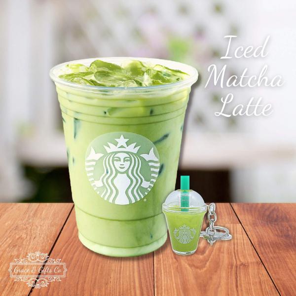 cute Starbucks keychain Iced Matcha Latte