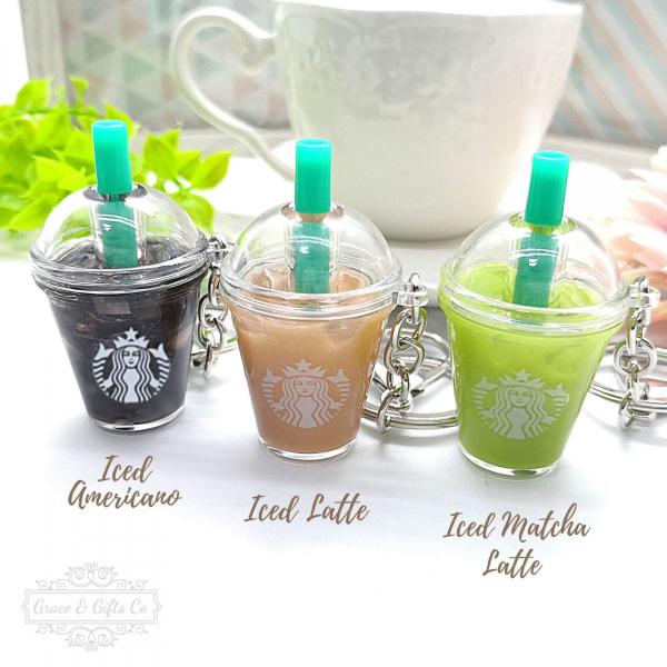 cute Starbucks keychain Iced latte americano