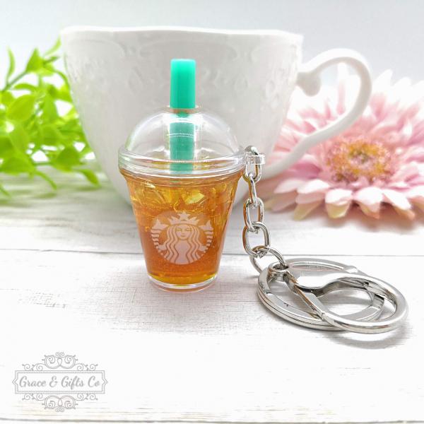 Starbucks keychain Iced peach green tea 1