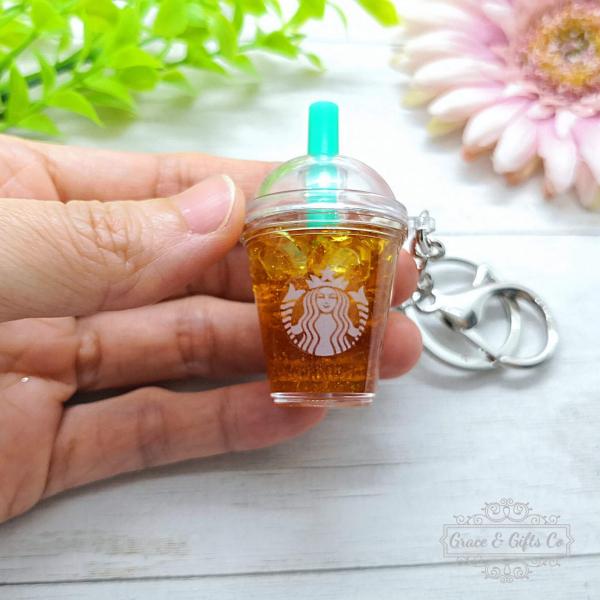cute Starbucks keychain Iced peach green tea 2