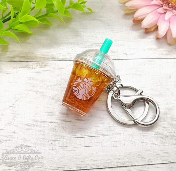 Starbucks keychain Iced peach green tea 3