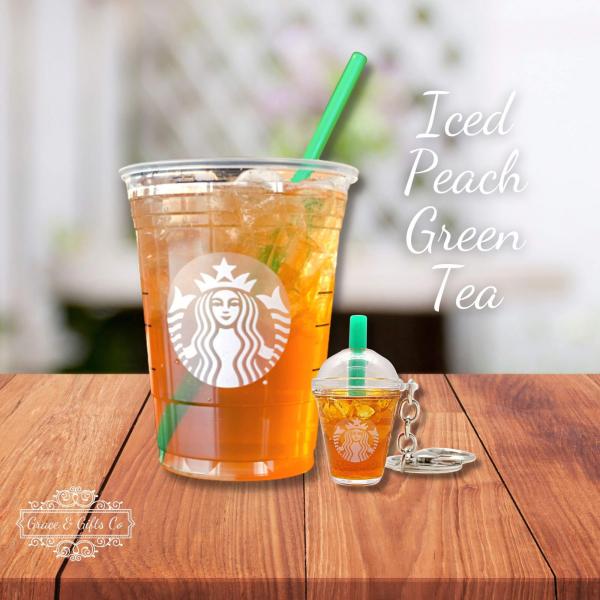 Starbucks keychain Iced peach green tea