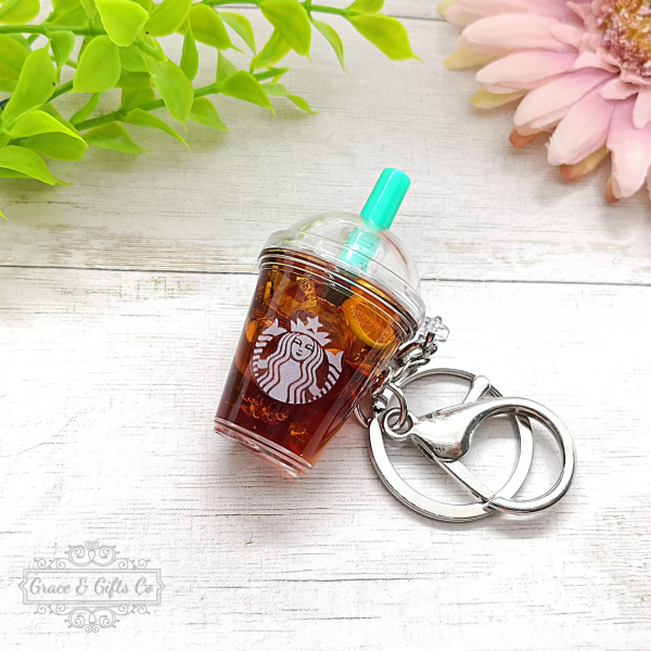Miniature Starbucks gift keychain Lemon Iced tea 2