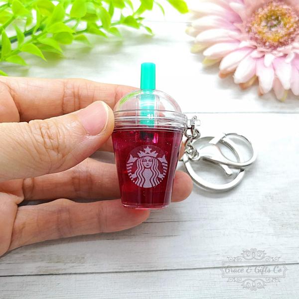 Miniature Starbucks keychain Passion iced tea 3