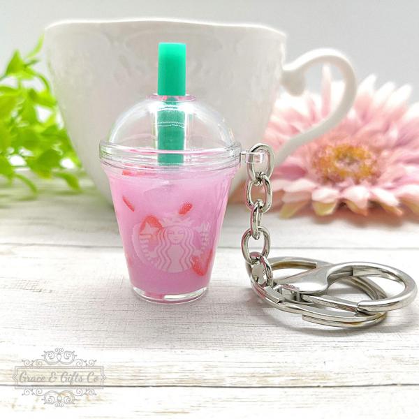 Starbucks keychain pink drink 1