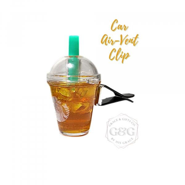 mini starbucks Ice Green Tea Car vent clip