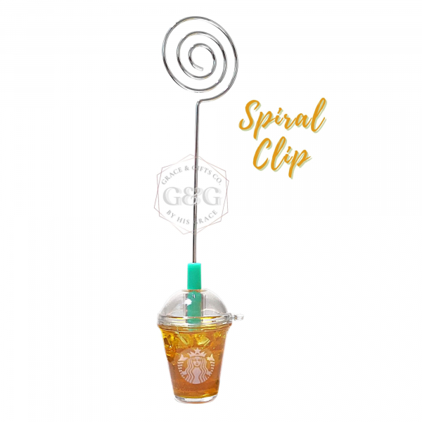 mini starbucks Ice Green Tea spiral clip