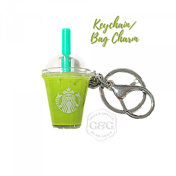 mini starbucks keychain Ice Matcha Latte starbucks bag charm christmas gift for women
