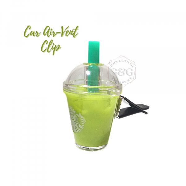 mini starbucks cup christmas gift for men Ice Matcha Latte car air vent clip