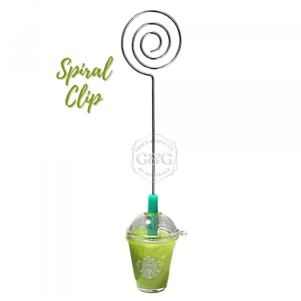 mini starbucks gifts Ice Matcha Latte spiral photo clip gift for husband