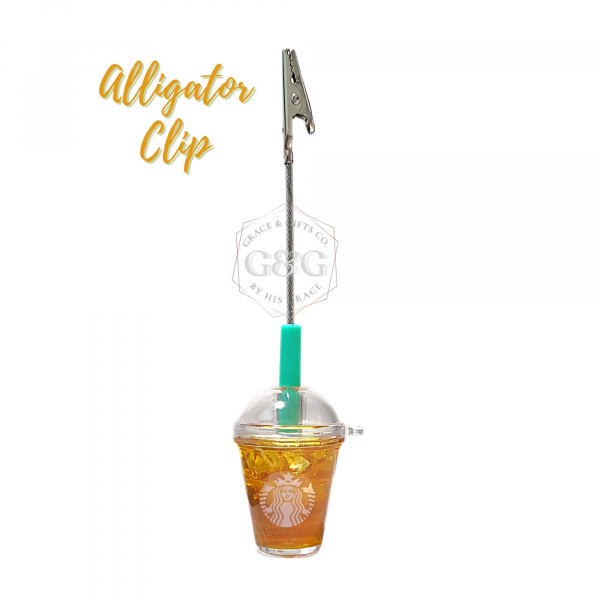 mini starbucks cup Ice green tea alligator photo clip
