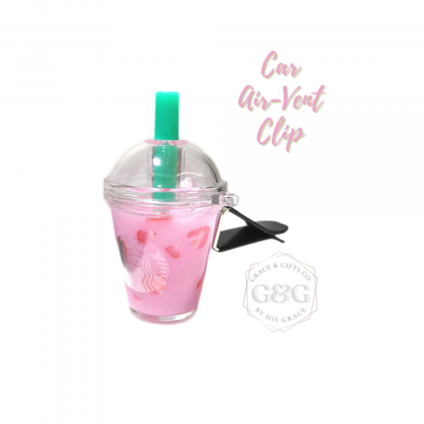 mini starbucks cup pink drink Ice strawberry car vent clip gift for women