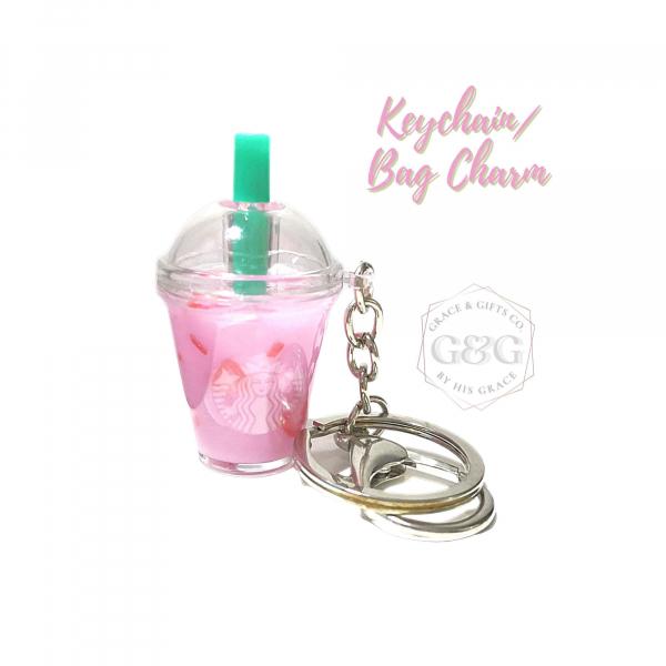 mini starbucks keychain strawberry miniature pink drink gift for girlfriend wife mom sister